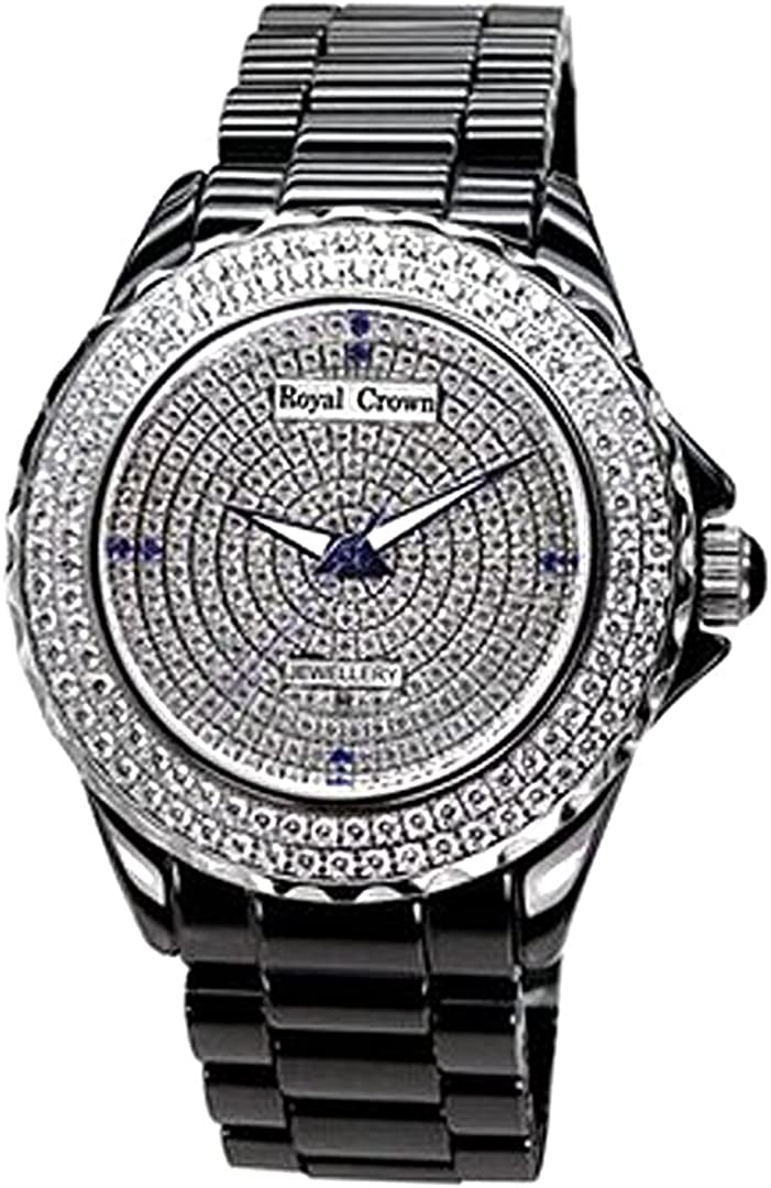 Royal Crown Men's Jewelry Watches Ceramic Band Quartz Mother