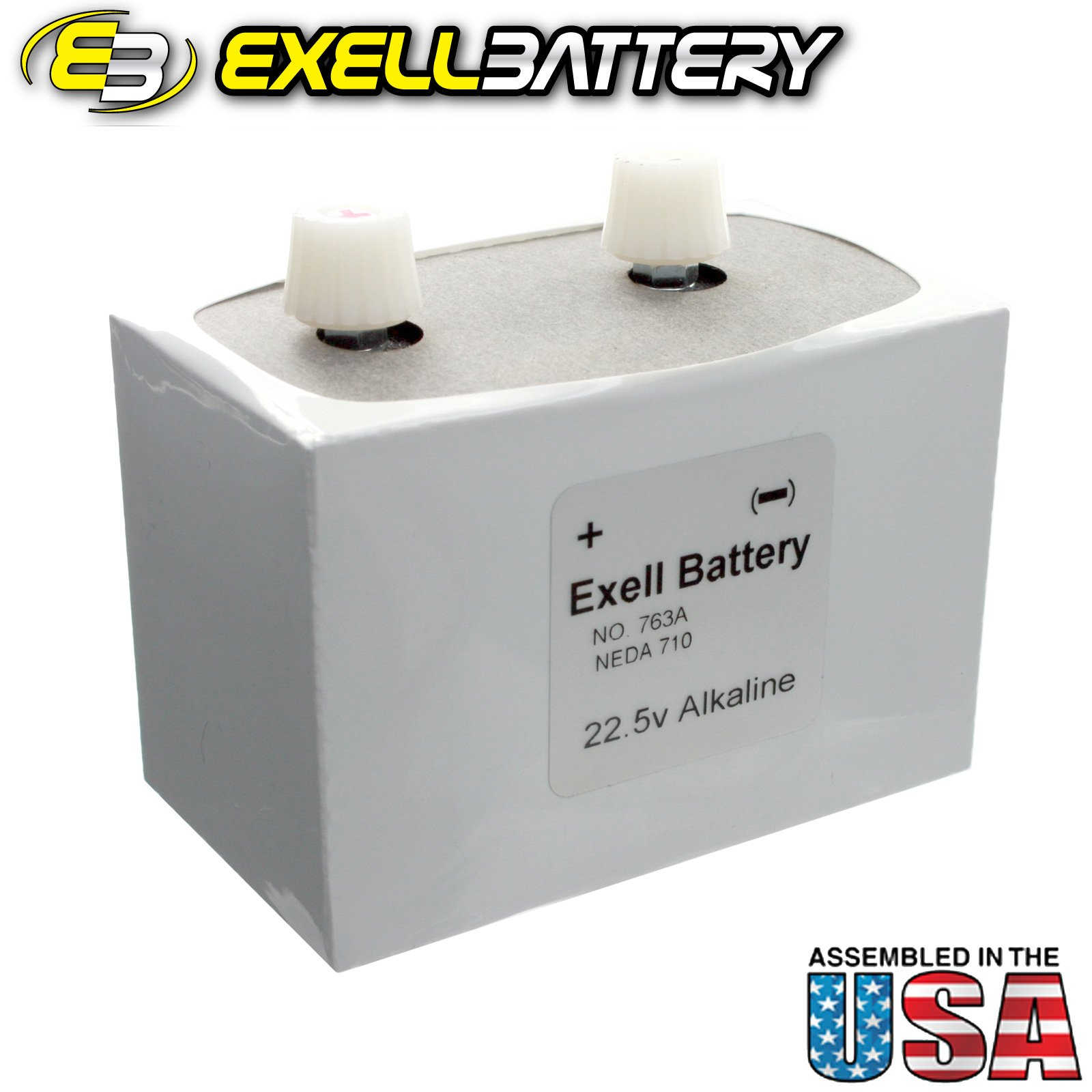 Exell Battery 763 Alkaline 22.5V, NEDA 710 Battery, Replaces ER763, White/Silver