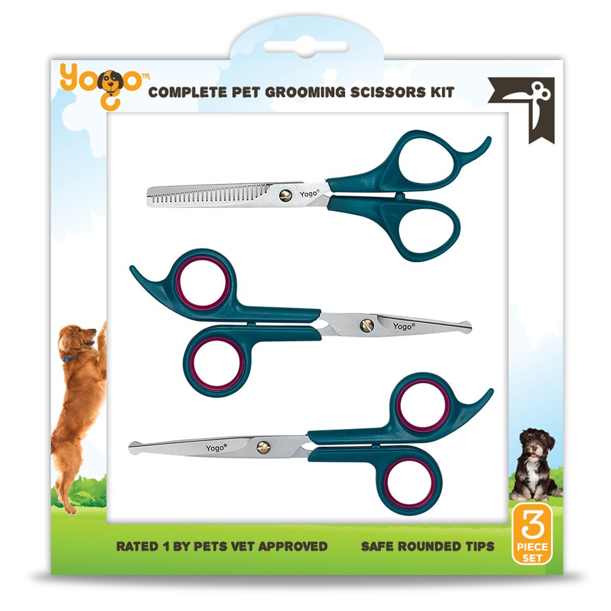 Yogo Pet Grooming Scissors Kit - 3 Round Tip Scissors Includes 1 Thinning Shears, 1 Facial (Face, Ear, Nose, Paw) and 1 Full Body Scissors - Professionally and Easily Groom Your Dogs, Cats and Pets