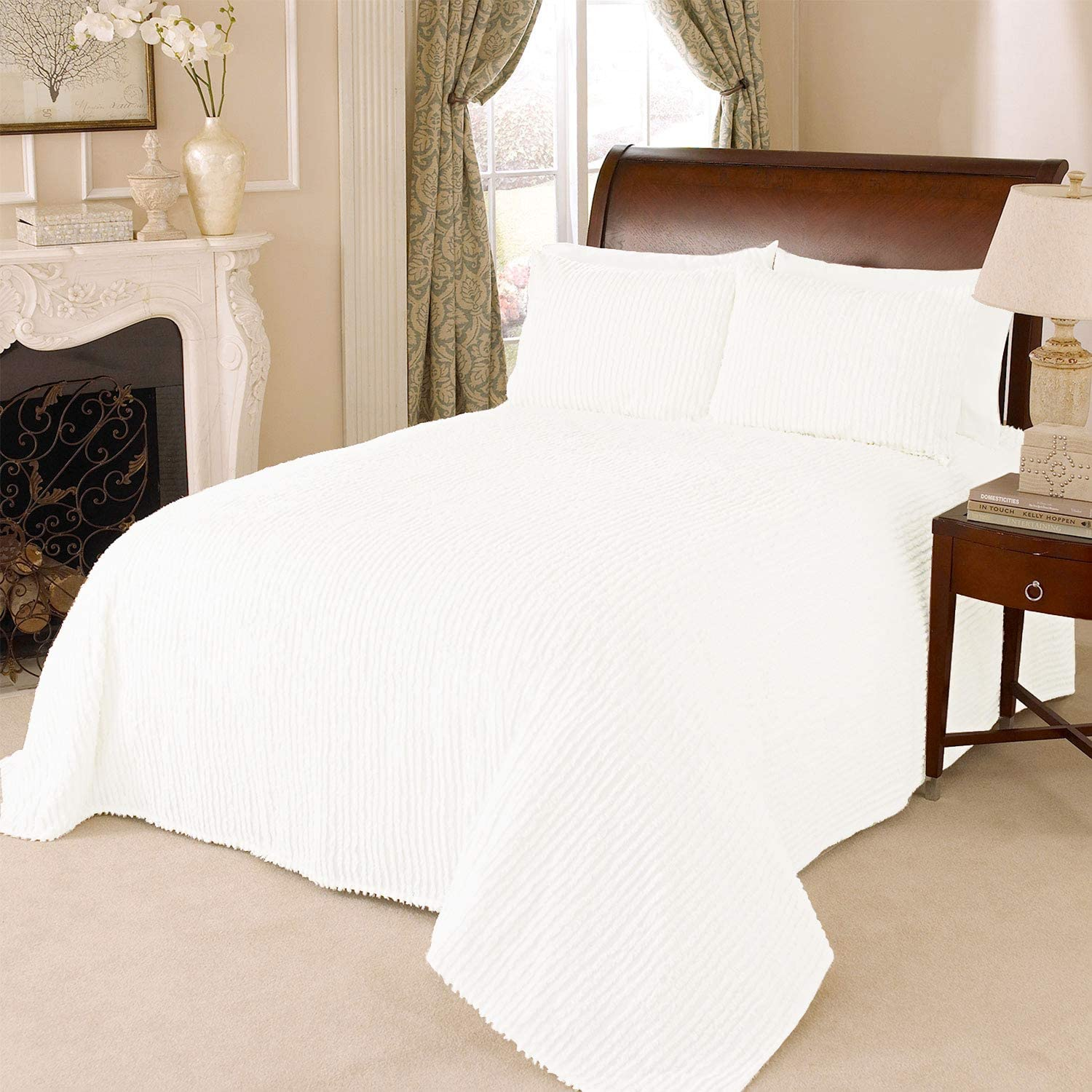 Beatrice Home Fashions Channel Chenille Bedspread, Full, White