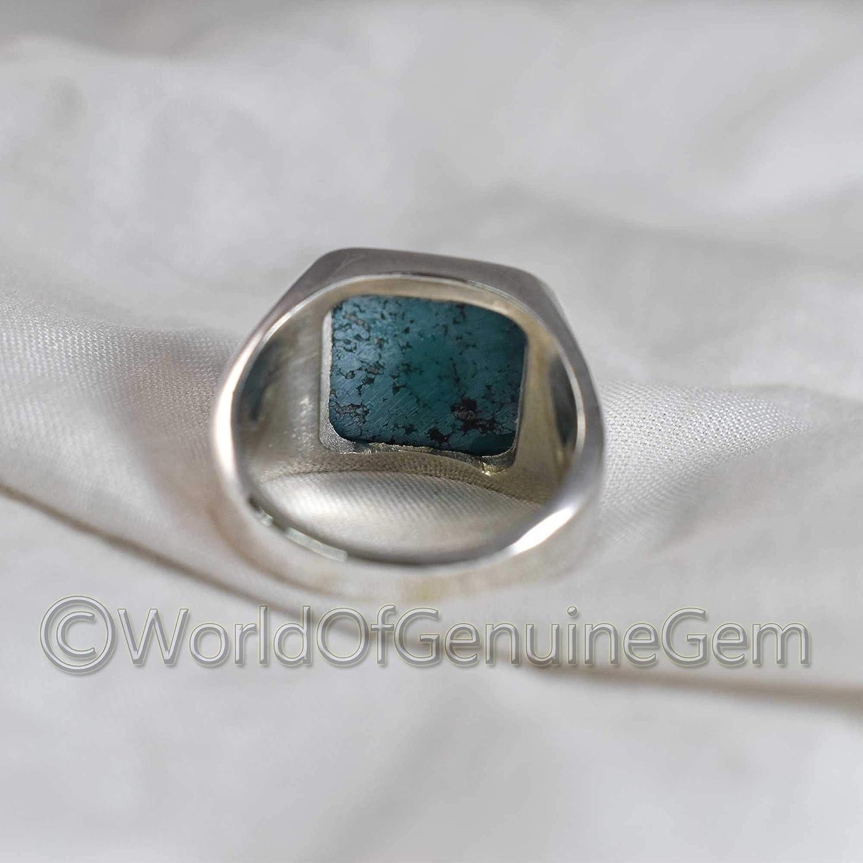 Tibatiyan Turquoise Cushion Cabochon Stone Ring 925 Sterling Silver