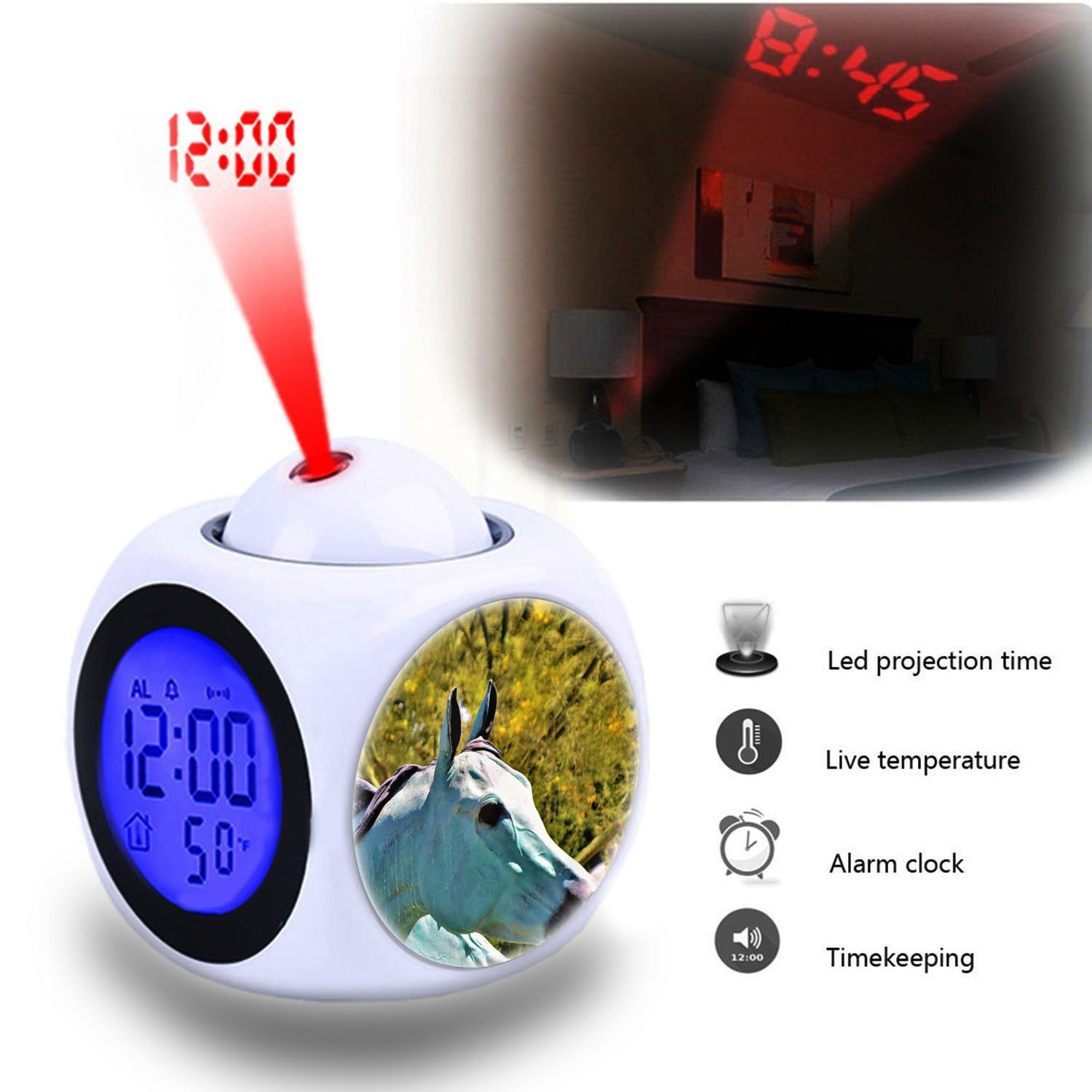 Projection Alarm Clock Wake Up Bedroom with Data and Temperature Display Talking Function, LED Wall/Ceiling Projection,Customize The pattern-517.Fountain Metal Blue Horse Statue Girlsight