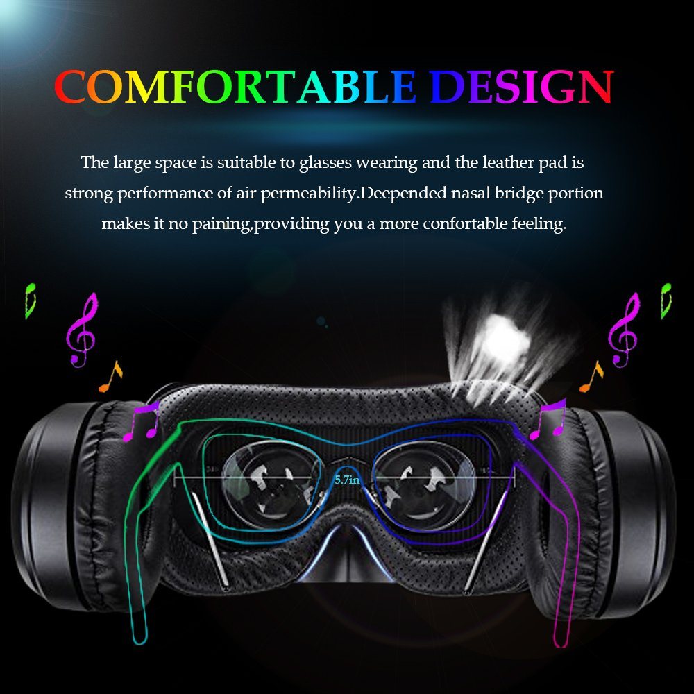 3D VR Glasses VR Virtual Reality with Bluetooth Remote Controller for 3D Games Movies& Lightweight with &Adjustable Pupil and Object Distance for Apple iPhone More Smartphones by EKIR (Image #3)