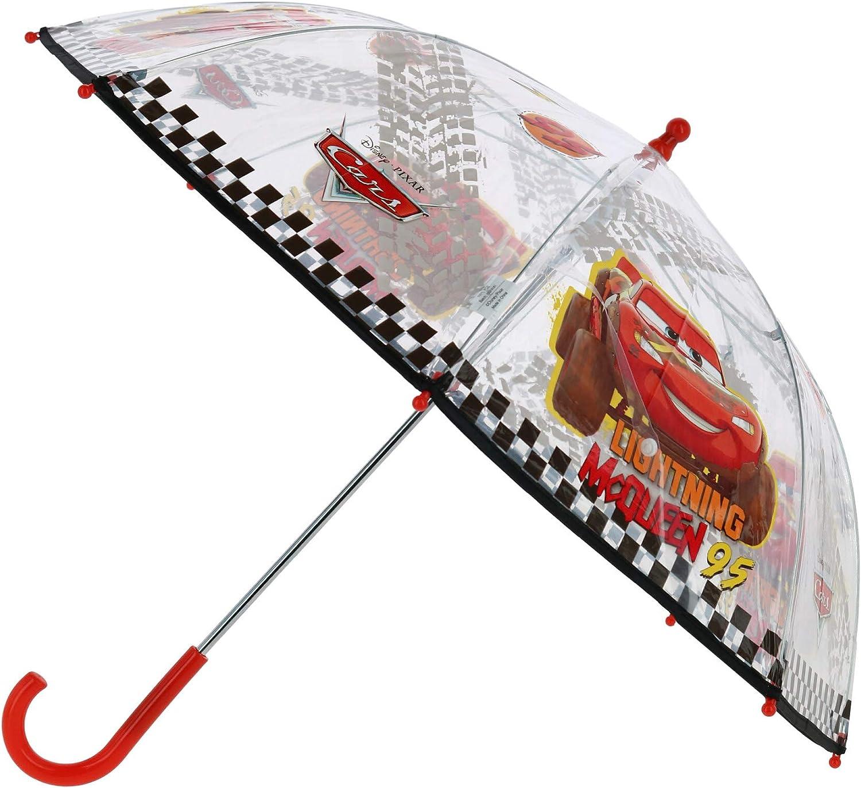 Parapluie Disney Pixar avec Flash McQueen et Martin Parapluie Transparent Cars Enfant Ouverture de S/écurit/é Manuelle Gar/çon 3//6 Ans Cloche Solide et R/ésistant au Vent Diam 64 cm Perletti