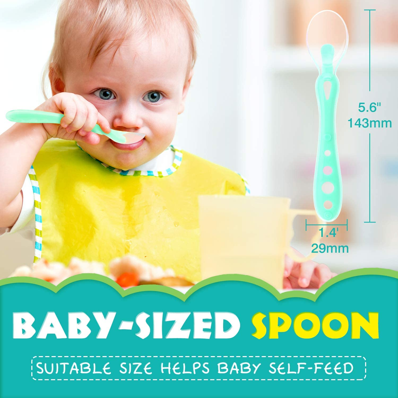 Cucchiaio Morbido per Bambini di Et/à Superiore a 4 Mesi Zooawa Set Cucchiaio Silicone Svezzamento, 2 Pezzi Blu Verde