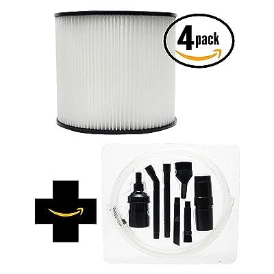 4-Pack de remplacement Shop-Vac 587–35–11Aspirateur Filtre à cartouche avec 7pièces Micro sous vide kit de fixation–Compatible Shop-Vac 90304filtre à cartou