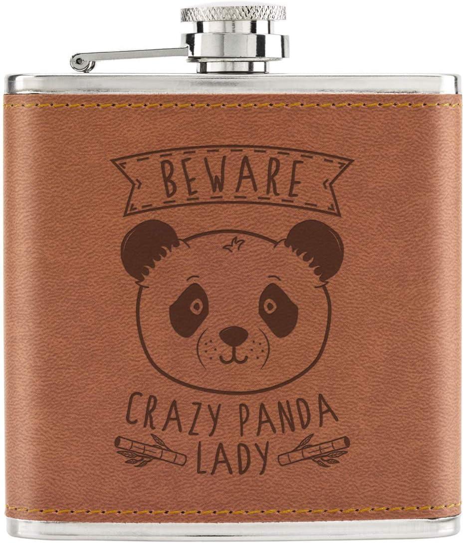 Beware Crazy Panda Lady 6oz PU Leather Hip Flask Tan