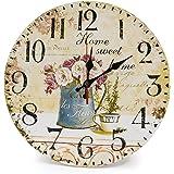 LOHAS Home 30cm Orologio da Parete, 12in Vintage Colorful Francia Parigi Stile Francese del Paese Toscano di Numeri Arabi Design Silenzioso Orologio da Parete in Legno Home Decor (caffè e Fiore)