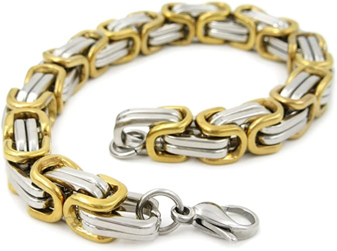 Men Fashion Chain Silver Gold Tone Byzantine Link Stainless Steel Bracelet 8mm