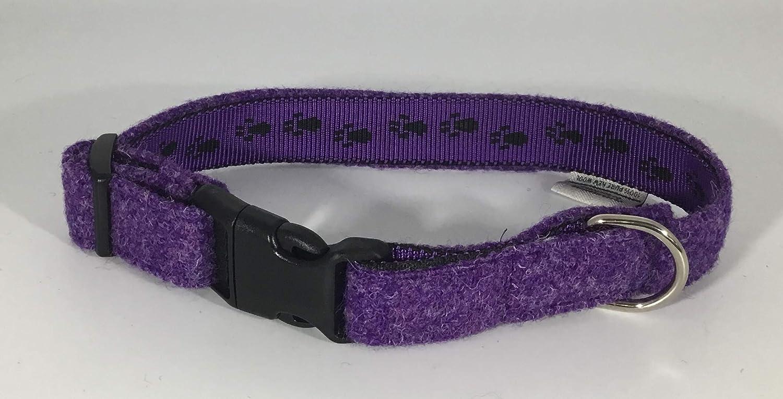 purple Harris Tweed dog collar