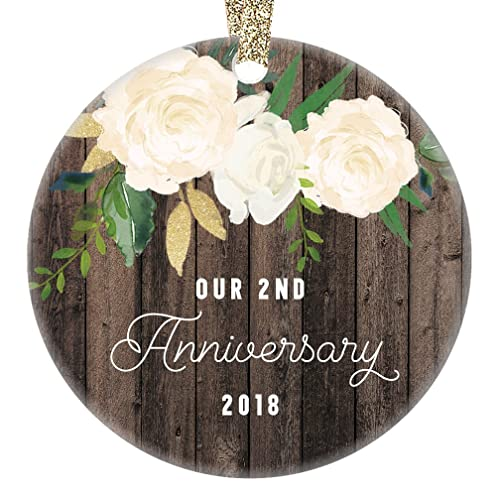 2nd year anniversary gifts our 2nd married christmas ornament 2018 wedding anniversaries marriage couple
