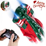 SGILE Christmas Remote Control Car Toy, Rechargeable Wall Climber Car with Mini Remote Control, Dual Mode 360° Rotating Stunt LED Head Gravity-Defying Car Racing Vehicle, Gift for Kids Boy Girl