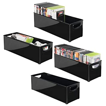 mDesign Juego de 4 Caja de almacenaje apilable para guardar DVDs – Sistema de almacenaje con