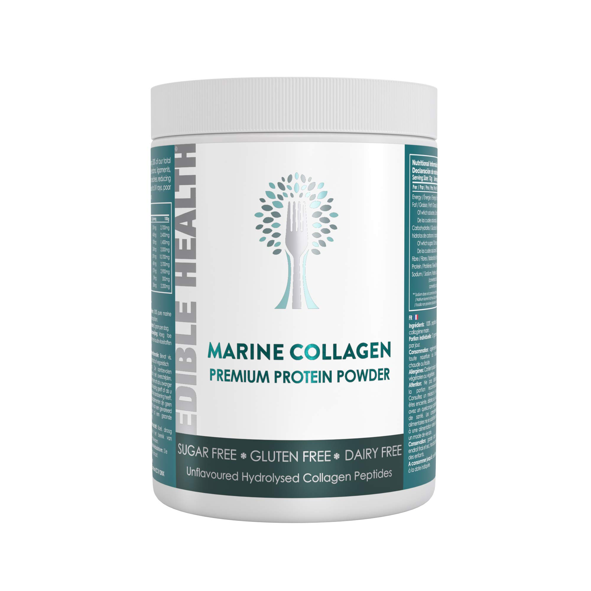 Edible Health Premium Marine Collagen Powder, 400g. Fast Acting Hydrolysed Protein Peptides 13x Stronger Than Capsules + Liquids. with 18 Amino Acids. Made in The EU. 30 Day, £1.16 per Day