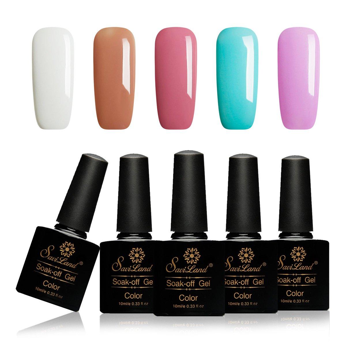 Saviland Gel Nail Polish Ocean Blue,UV LED Gel Polish Set, Manicure Varnish Color Gel 5 Pcs