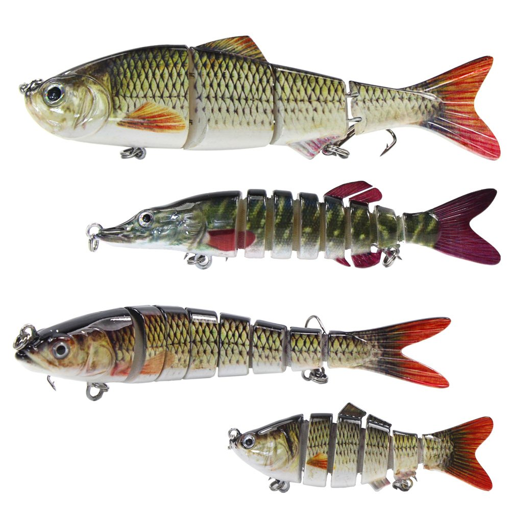 Croch 4 pcs Fishing Lures Multi Jointed Lifelike Segment Swimbait Hard Crankbait Artificial Lures with Treble Hooks