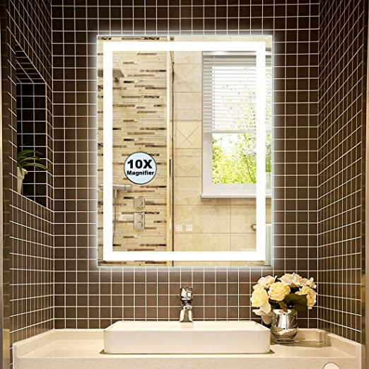 Super Lighted Decorative Bathroom Silvered Mirror White//Warm White//Warm Light Vertical or Horizontal Sensitive Touch Button 32 x 24 Inch LED Bathroom Mirror
