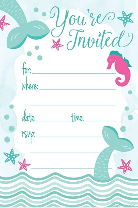 Amazon mermaid birthday party invitations fill in style 20 mermaid birthday party invitations fill in style 20 count with envelopes filmwisefo