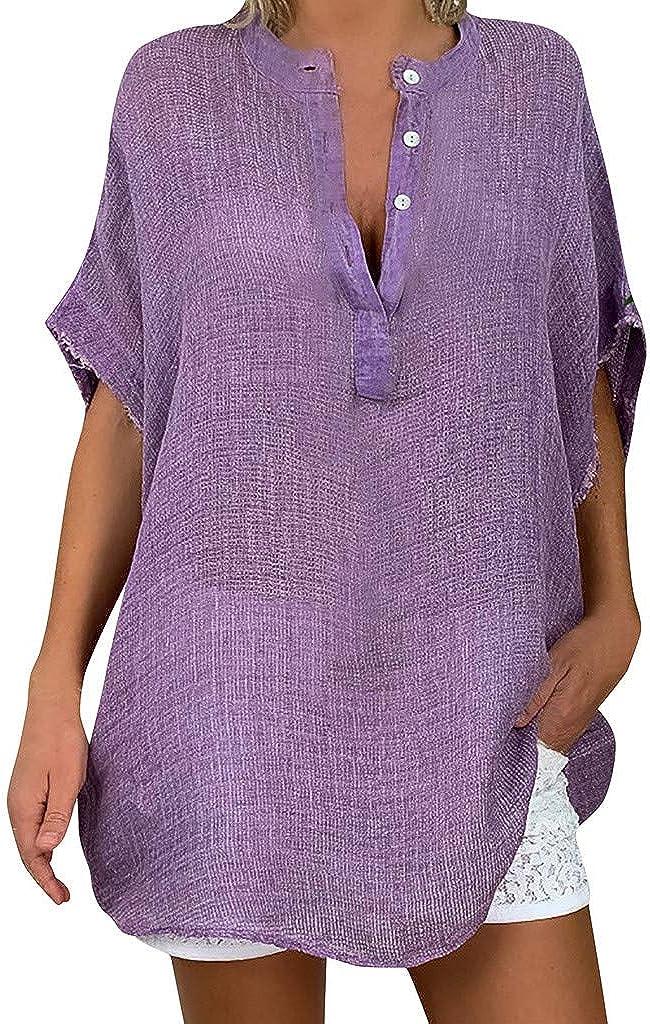 LOOKAA Plus Size Women Casual Baggy Long Sleeve T Shirt Summer Linen Beach Tunic Blouse