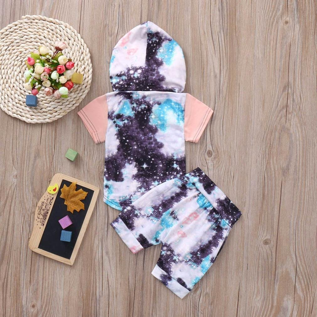WARMSHOP Stylish Summer Clothing Set Boys Printing Short Sleeve Hooded Tops with Pocket+Elastic Shorts Casual Outfits