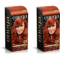 Enega Cream permanent hair color (120 ml/each) superior quality with Argan Oil & Green Tea extract NO AMMONIA Cream FORMULA smooth care for your precious hair! COPPER RED 5.64 (Pack of 2)