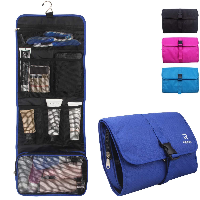 Relavel Travel Hanging Toiletry Bag for Men Women Travel Kit Shaving Bag Waterproof Wash Bag Makeup Organizer for Bathroom Shower (Navy Blue)