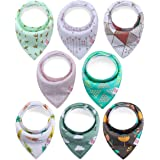 8-Pack Baby Bandana Bibs Upsimples Baby Girl Bibs for Drooling and Teething, 100% Organic Cotton and Super Absorbent Hypoallergenic Bibs Baby Shower Gift