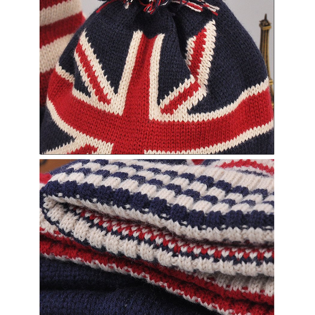 Raylans Women Men Crochet Knitted Ball Stripe Stars Winter Warm Beanie Hat Ski Cap,British Flag by Raylans (Image #7)