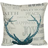 """NEW BARLEY Decorative Throw Pillow Case Cushion Cover Rustic Deer Cotton Linen Throw Pillows 18"""" X 18"""" (Style 02)"""