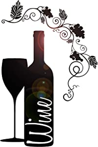 Vinyl Wall Decal Wine Bottle Glass Grape Alcohol Bar Stickers (ig4232) White