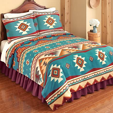 Amazon.com: Southwest Turquoise, Red & Brown Native Aztec ...