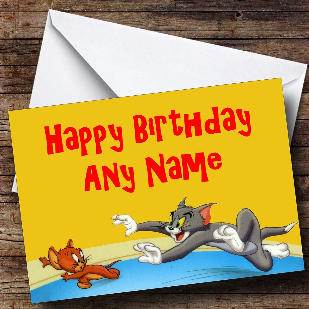 Personalised tom jerry birthday card amazon office products kristyandbryce Images