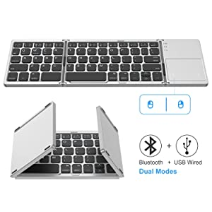 Foldable Bluetooth Keyboard, Jelly Comb Dual Mode Bluetooth & USB Wired Rechargable Portable Mini BT Wireless Keyboard with Touchpad Mouse for Android, Windows, PC, Tablet-Black and Silver