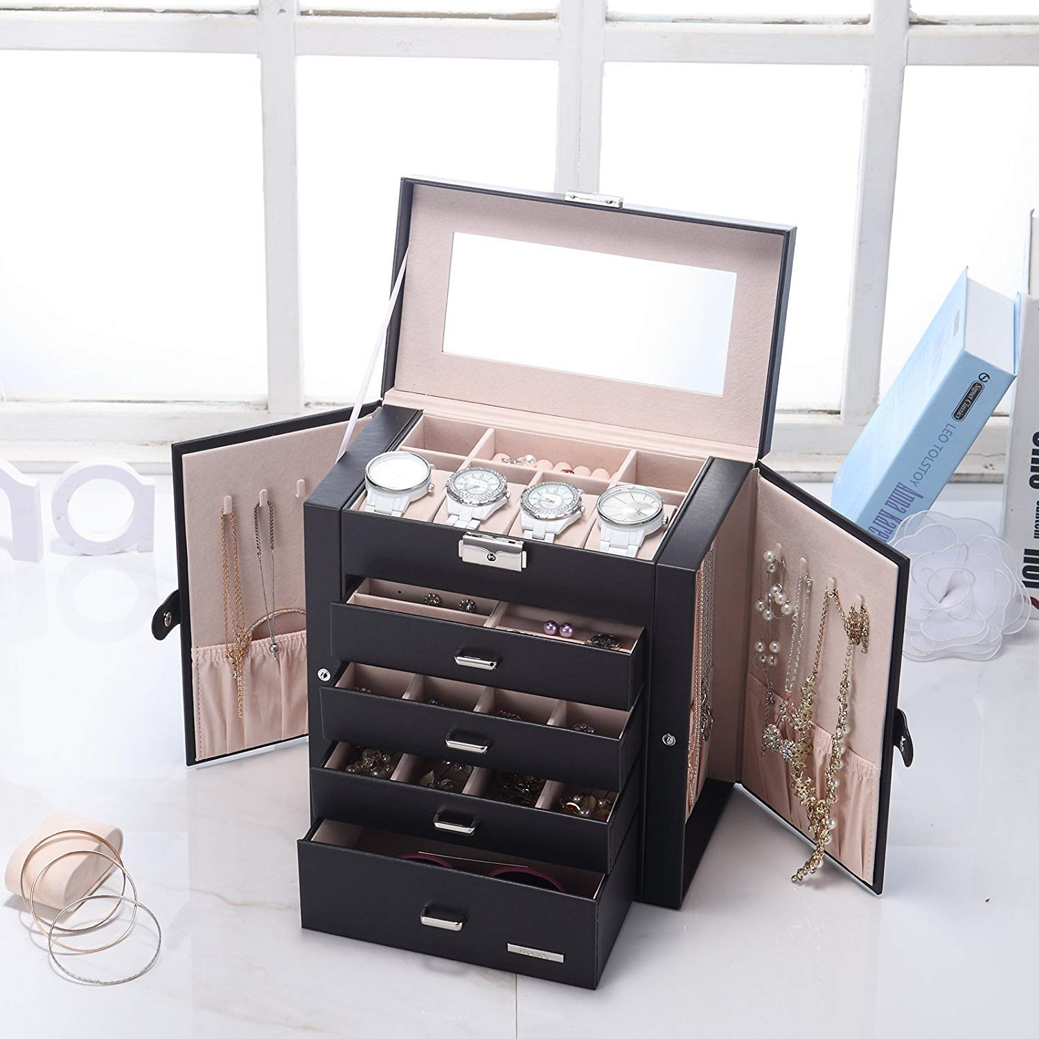 SSLine Deluxe Large Jewelry Box 5-Tier Leather Jewelry Storage Chest Portable Travel Case with Watch Sunglasses Earring Holder Organizer - Black by SSLine