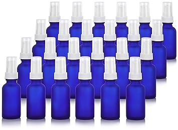 96ba8ee1efed Amazon.com: Frosted Cobalt Blue 1 oz/30 ml Glass Boston Round White ...