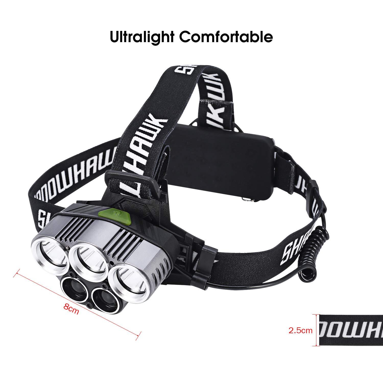Shadowhawk Linterna LED recargable, linterna frontal, linterna de ...