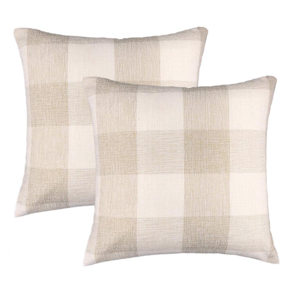 4TH Emotion Farmhouse Decoration Beige White Checkers Plaids Linen Square Throw Pillow Case Decorative Cushion Cover Pillowcase Cushion Case for Sofa 18 x 18 Inch, Set of 2