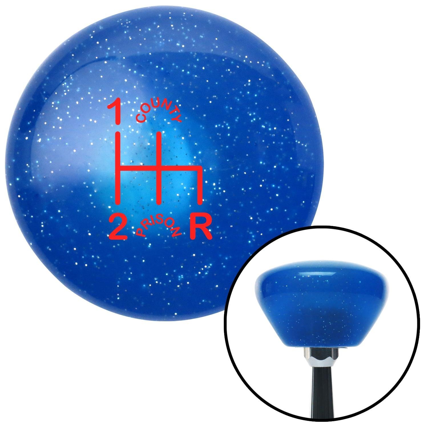 American Shifter 192230 Blue Retro Metal Flake Shift Knob with M16 x 1.5 Insert Red Shift Pattern CP6n