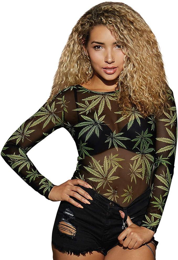 High Demand Women's Stretch Mesh Leaf Bodysuit - cannabis fashion