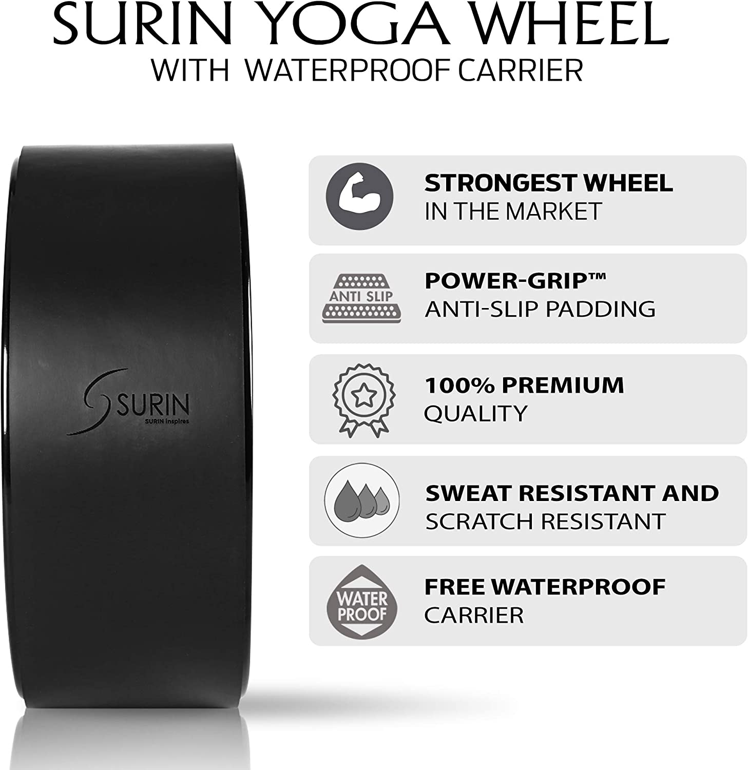 Black Yoga Wheel Large 13