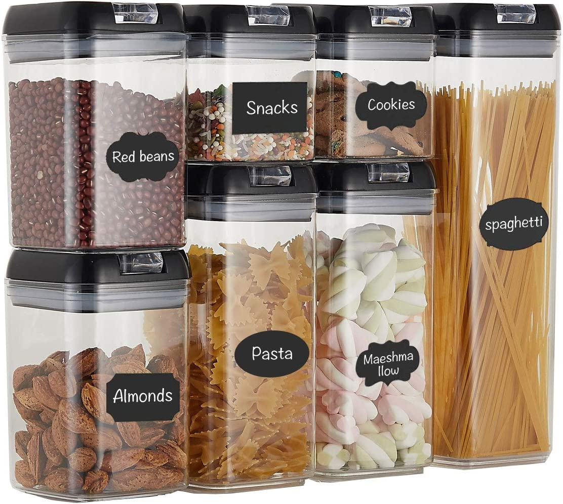 Top Taste Airtight Food Storage Containers set - 7 PC Set -BPA Free Plastic Cereal & Flour Containers with Easy Lock Lids,for Kitchen Pantry Organization and Storage,Include Labels and Marker(Black)