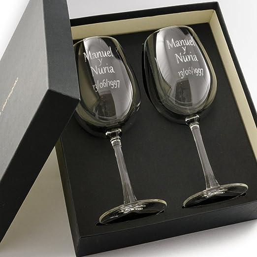 Calledelregalo Estuche de Dos Copas de Vino Personalizadas - Regalo Personalizado para Parejas: Amazon.es: Hogar