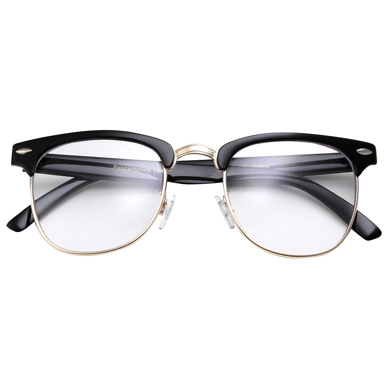 78141c1d64 Amazon.com  grinderPUNCH - Mens Non Prescription Clear Lens Glasses Black Gold   Clothing