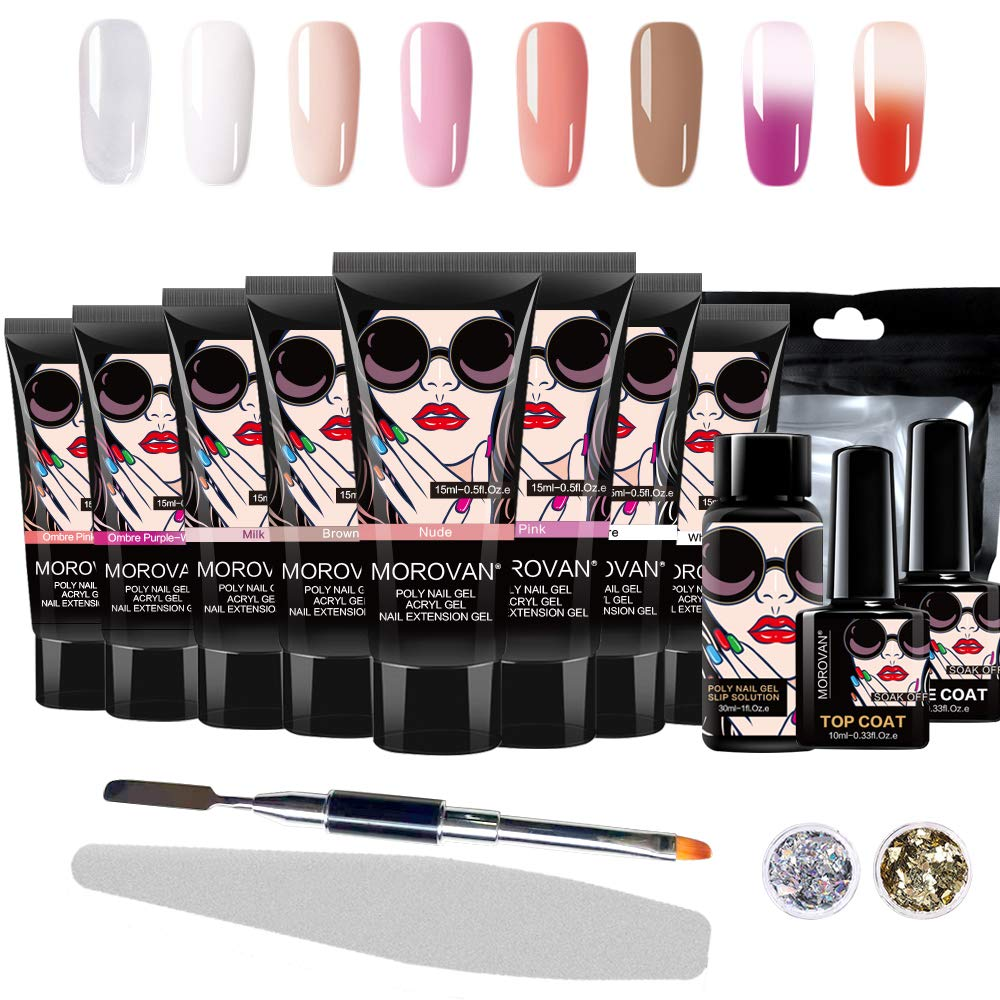 Morovan Poly gel Nail Kit Nail Extension Starter Kit and Professional Nail All-in-One French Manicure Kit for Nail Enhancement by Morovan