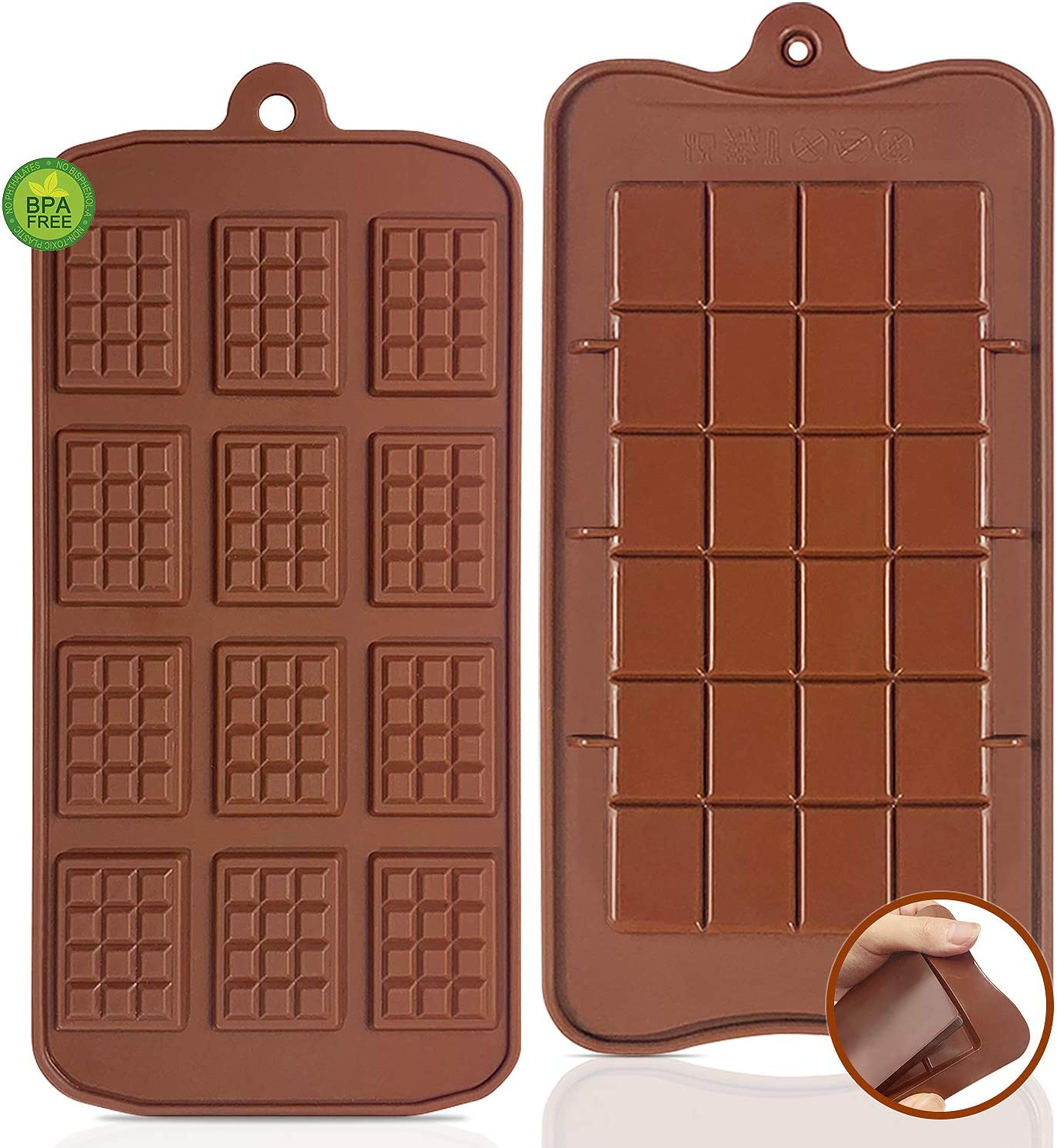 Break-Apart Chocolate, Walfos Food Grade Non-Stick Silicone chocolate waffle mold and Energy Bar chocolate Molds. 2 Packs