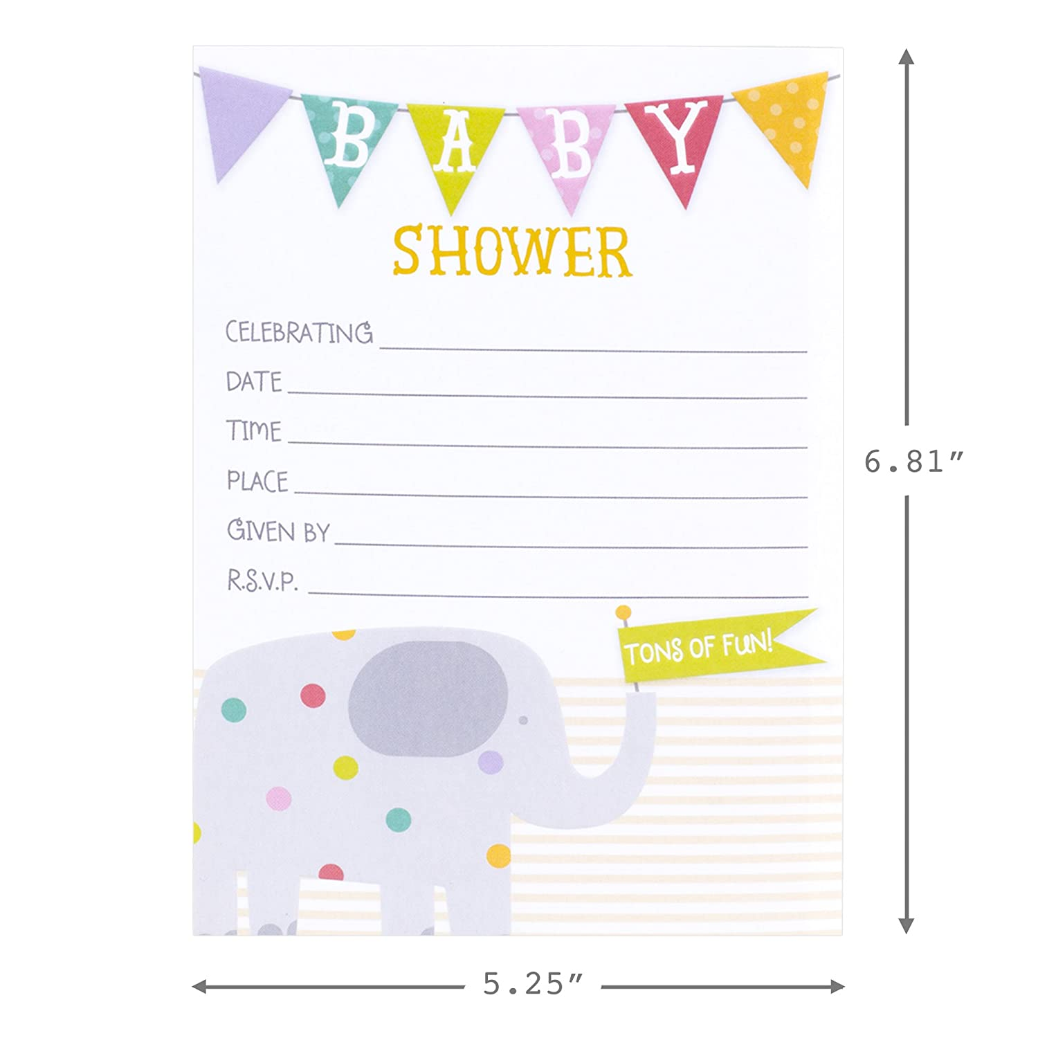 Amazon.com: Hallmark Baby Shower Invitations, Elephant (Pack of 20 Invites  and Envelopes): Kitchen & Dining