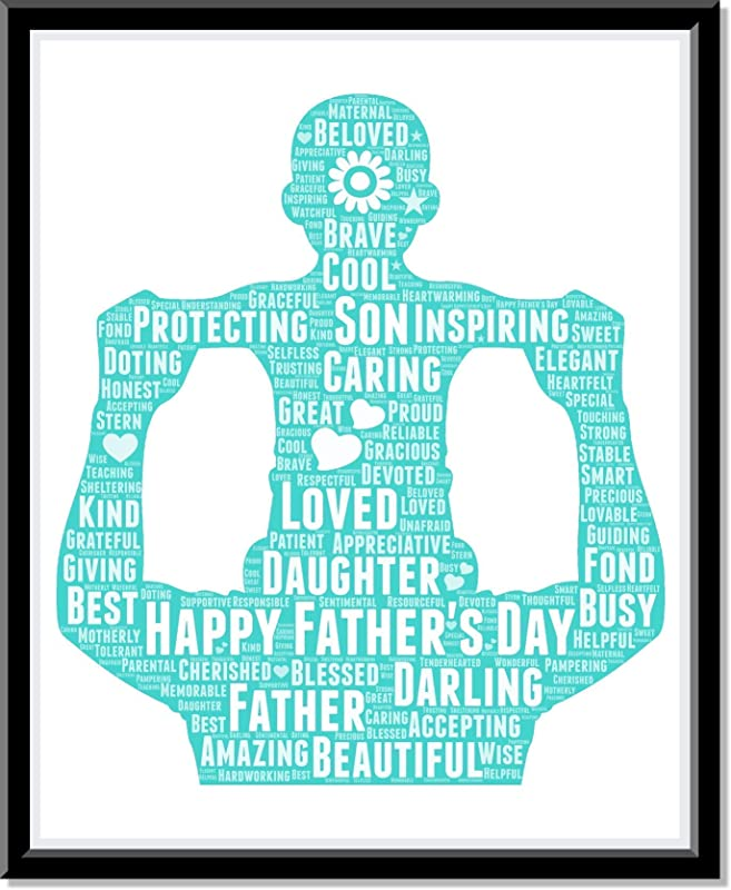 New Dad Gifts, Father and baby on Shoulder Print, Dad Gifts Wall Art from Words, Personalized Father's day gifts for him, Birthday Gifts, gift for dad Word Art Typography Custom Print…