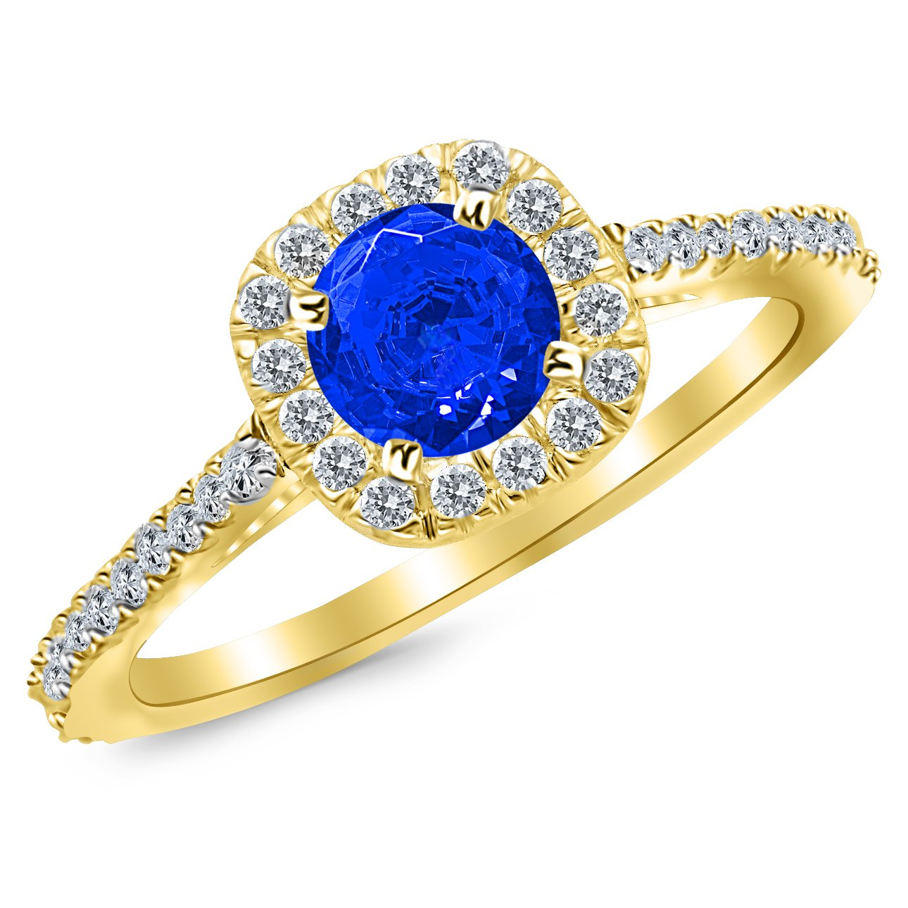 2.35 Carat 14K Yellow Gold Gorgeous Classic Cushion Halo Style Diamond Engagement Ring with a 2 Carat Natural Blue Sapphire Center (Heirloom Quality)