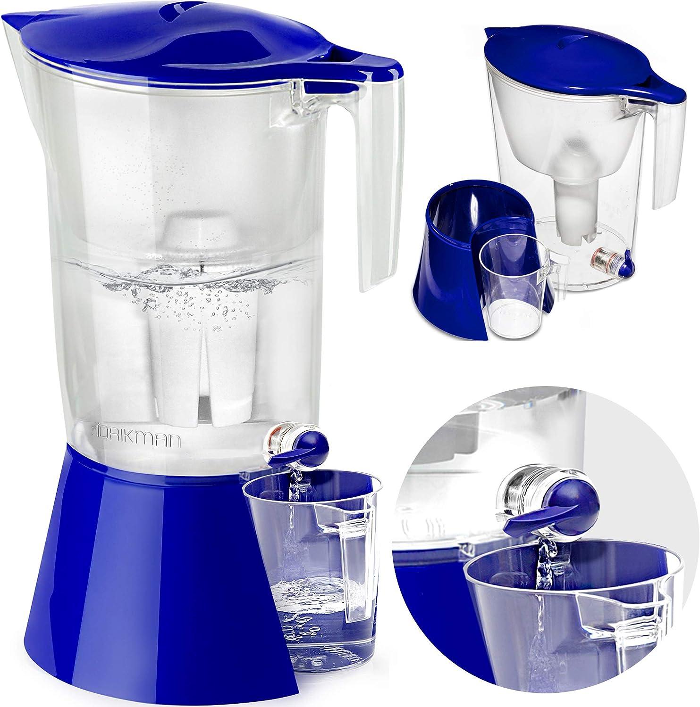 DRIKMAN 浄水器ピッチャーとディスペンサー - 水道付き浄水ピッチャー - 最高の鉛水フィルタージャグ - スタンド付きフィルターウォーターディスペンサー - BPAフリーピッチャー14カップ - 特許出願中