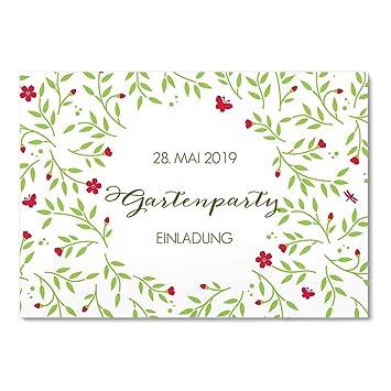 Greetinks 30 X Einladungskarten Fur Geburtstag Garten Feier In Rot